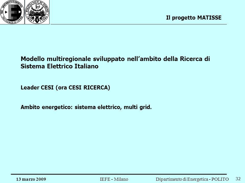 Il progetto MATISSE Modello multiregionale sviluppato nell'ambito della Ricerca di Sistema Elettrico Italiano.