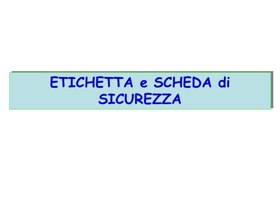 ETICHETTA e SCHEDA di SICUREZZA