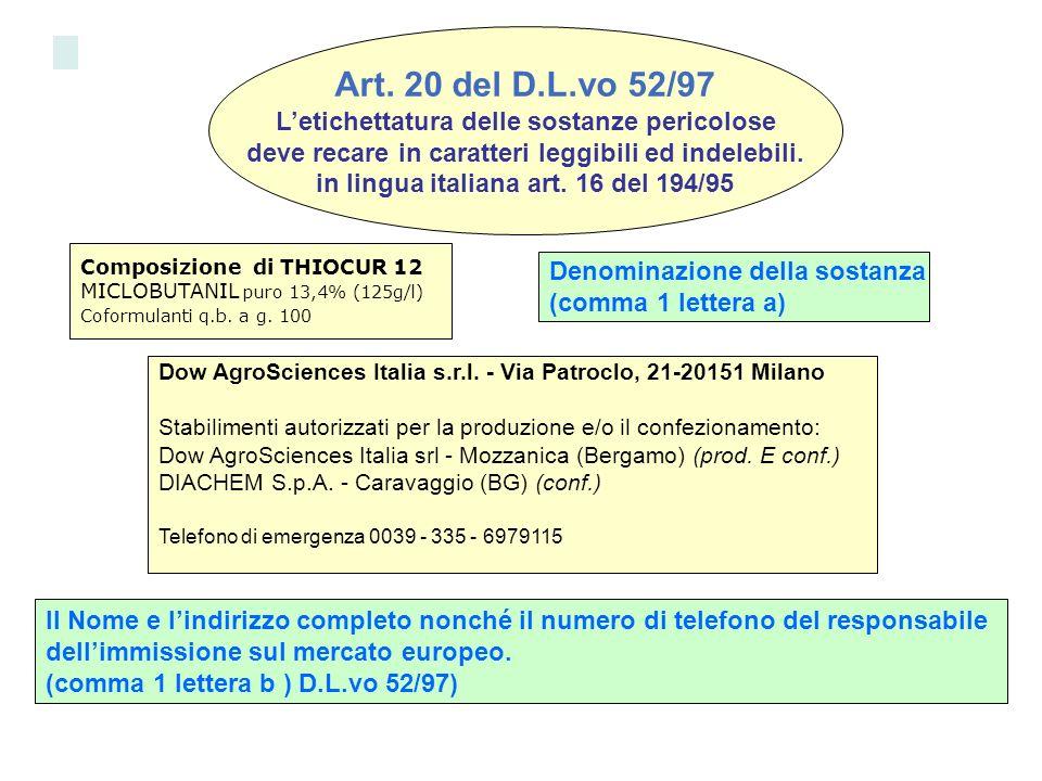 Art. 20 del D.L.vo 52/97 L'etichettatura delle sostanze pericolose