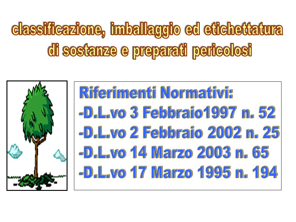 Riferimenti Normativi: -D.L.vo 3 Febbraio1997 n. 52