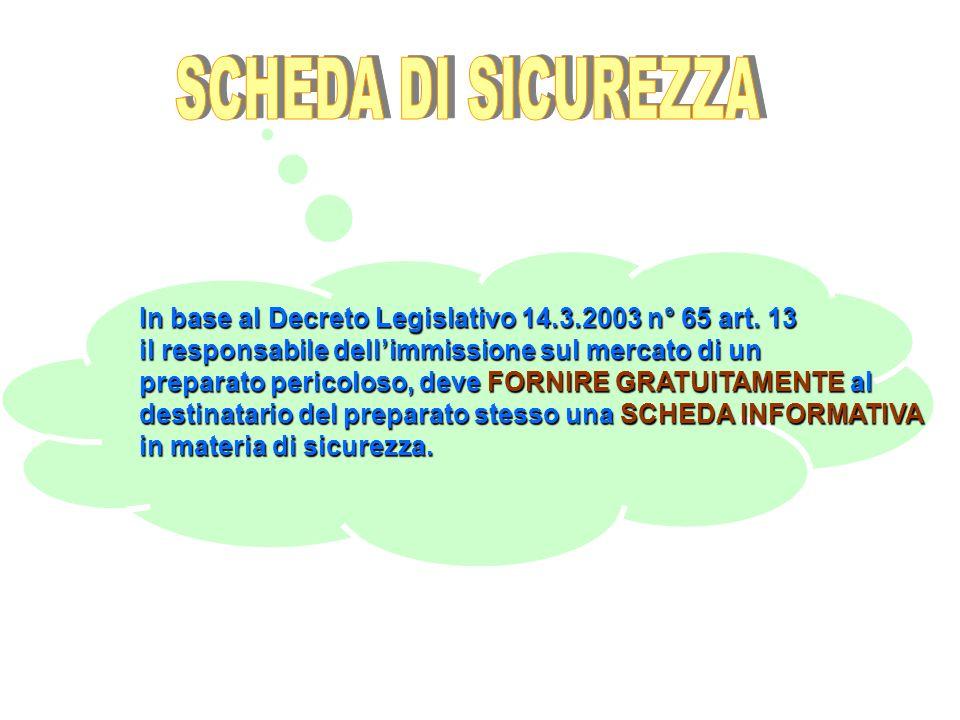 SCHEDA DI SICUREZZA In base al Decreto Legislativo 14.3.2003 n° 65 art. 13. il responsabile dell'immissione sul mercato di un.