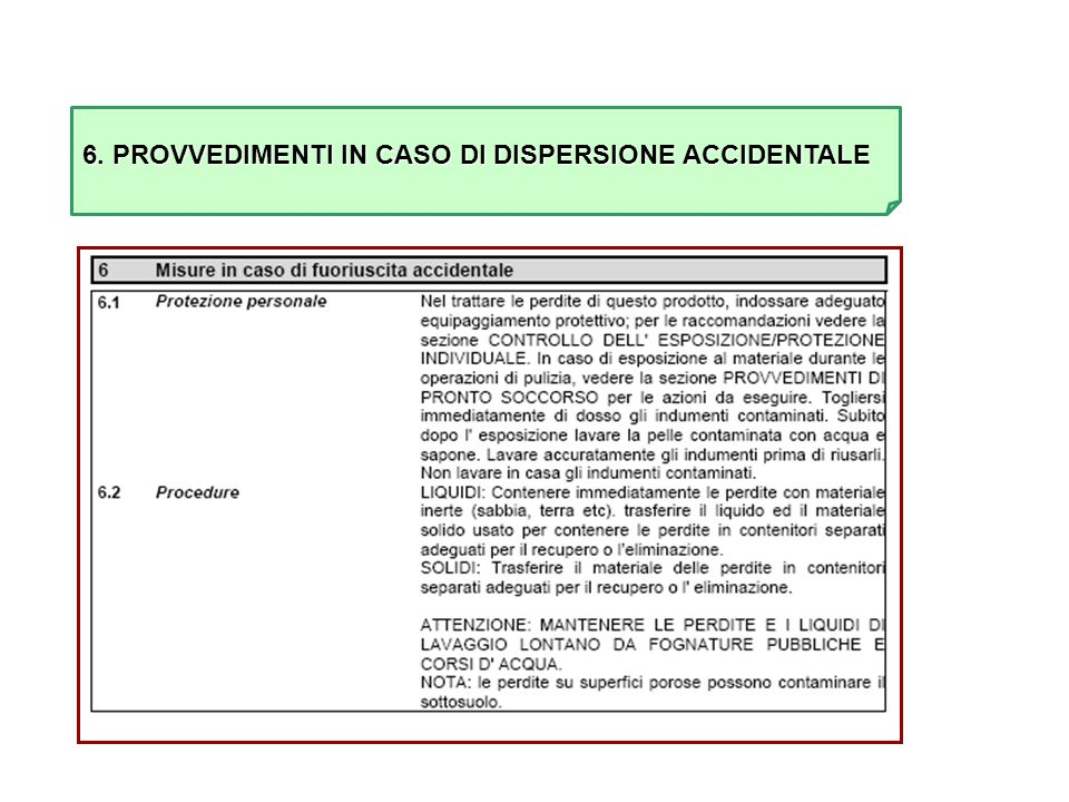 6. PROVVEDIMENTI IN CASO DI DISPERSIONE ACCIDENTALE