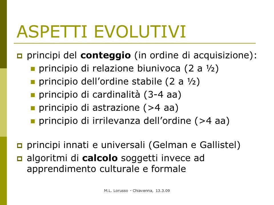 ASPETTI EVOLUTIVI principi del conteggio (in ordine di acquisizione):