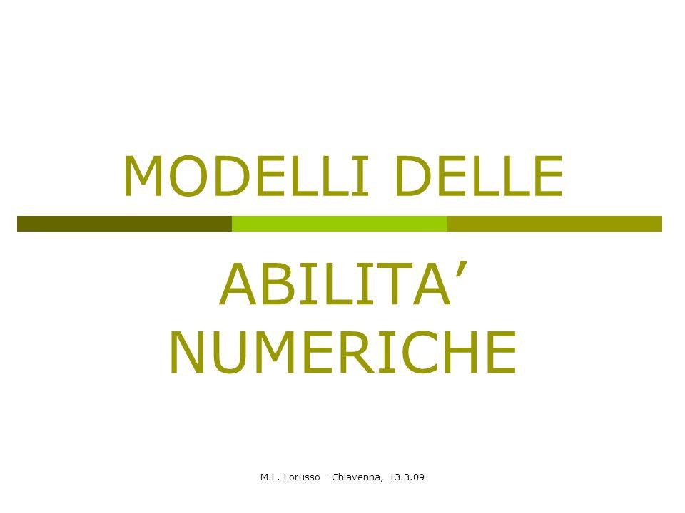 MODELLI DELLE ABILITA' NUMERICHE M.L. Lorusso - Chiavenna, 13.3.09