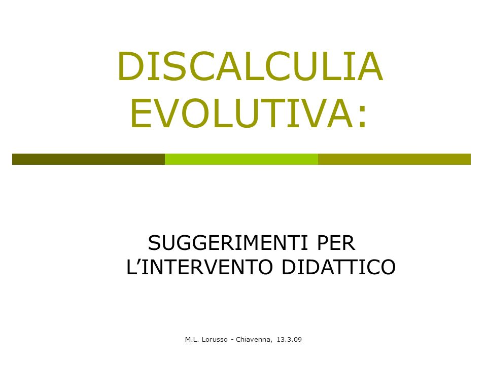DISCALCULIA EVOLUTIVA: