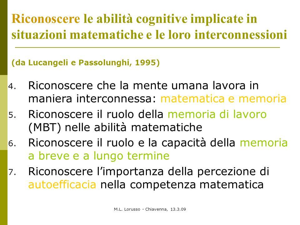 Riconoscere le abilità cognitive implicate in situazioni matematiche e le loro interconnessioni
