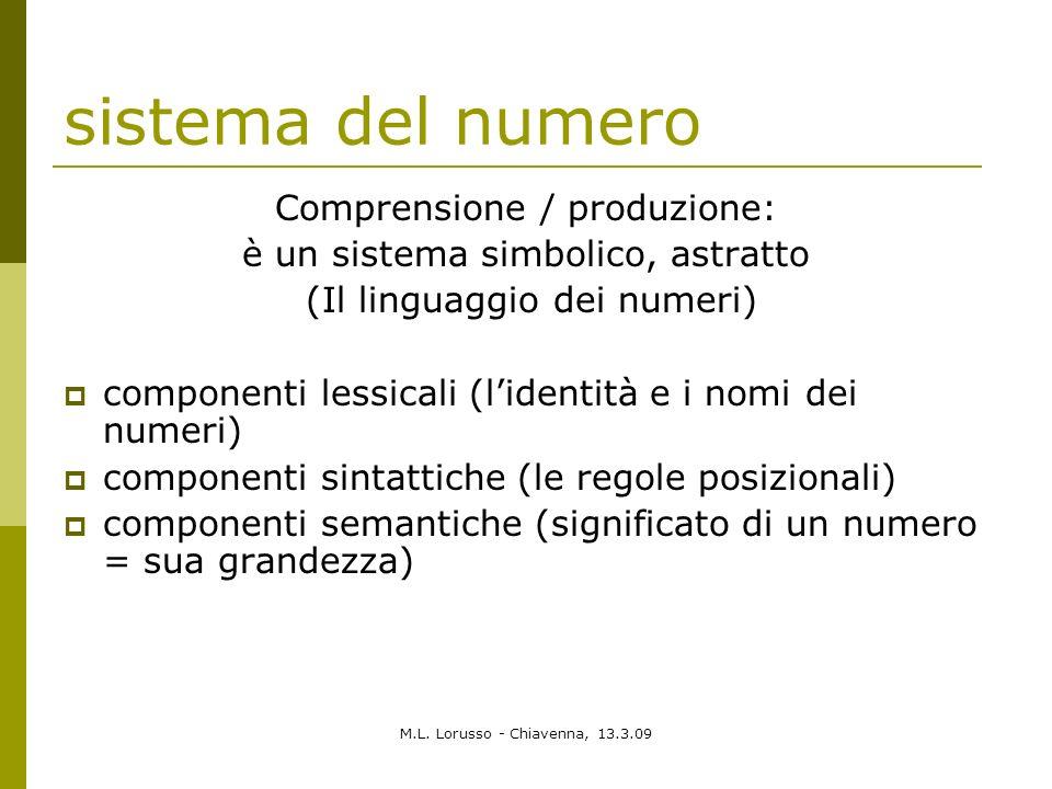 sistema del numero Comprensione / produzione:
