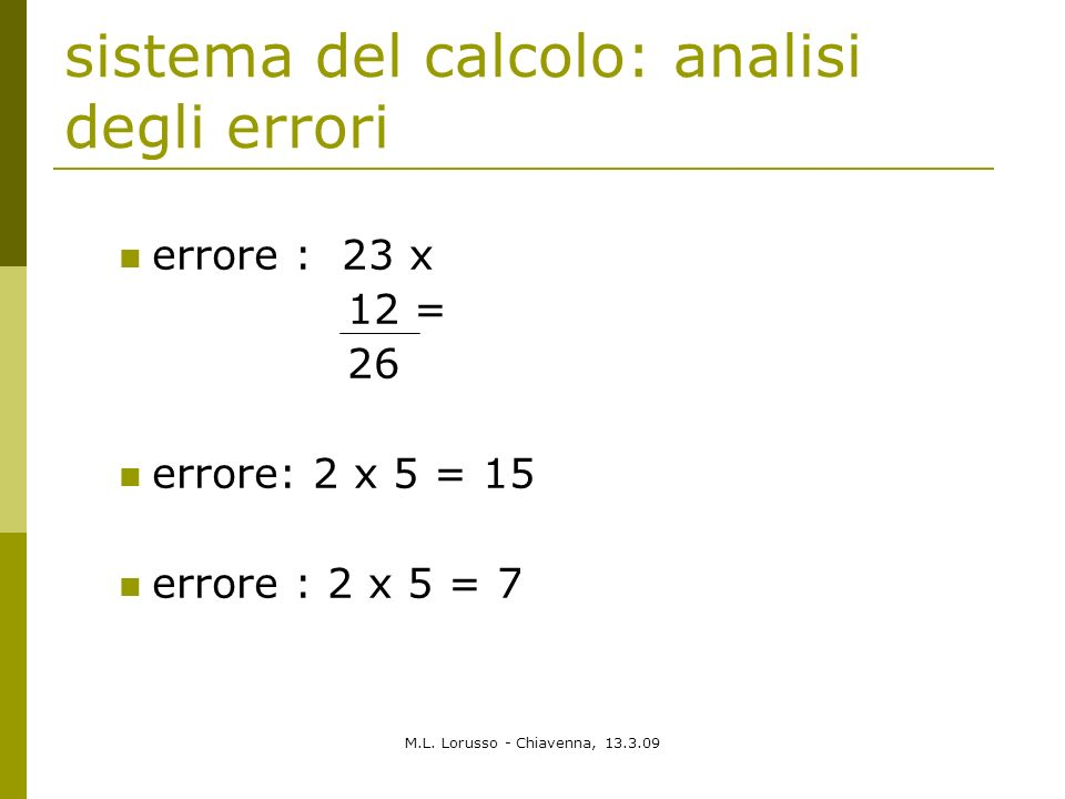 sistema del calcolo: analisi degli errori