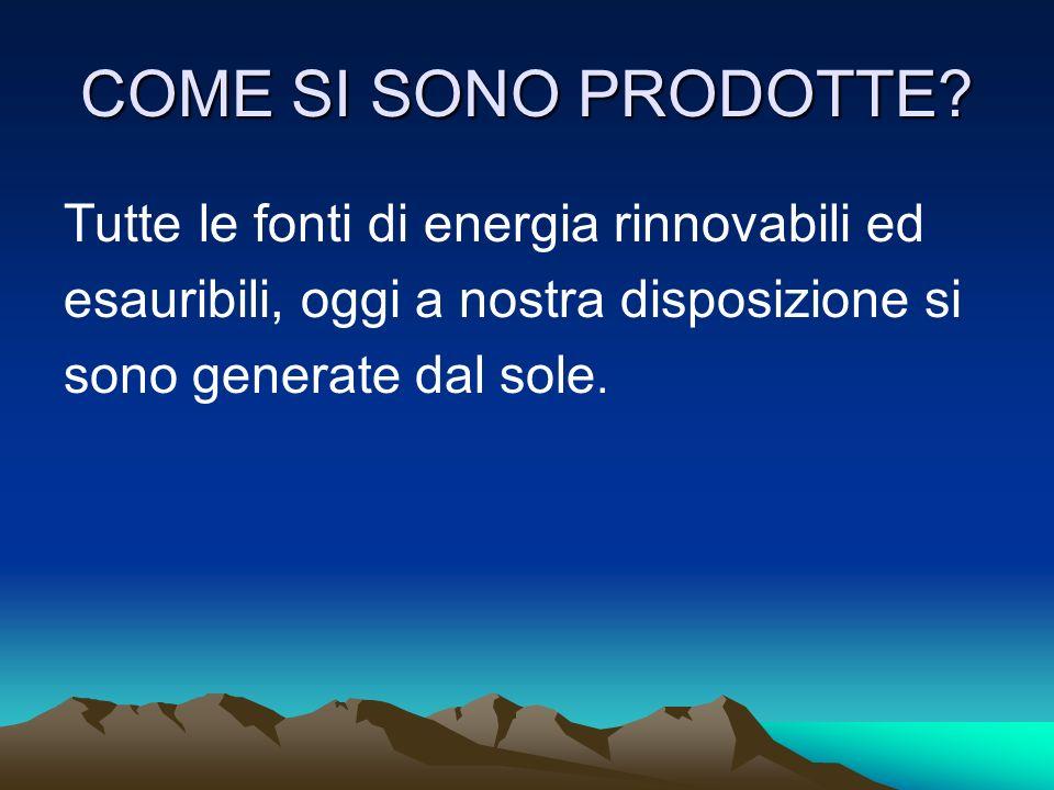 COME SI SONO PRODOTTE Tutte le fonti di energia rinnovabili ed