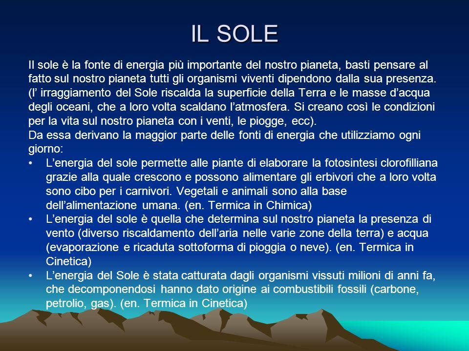 IL SOLE Il sole è la fonte di energia più importante del nostro pianeta, basti pensare al.