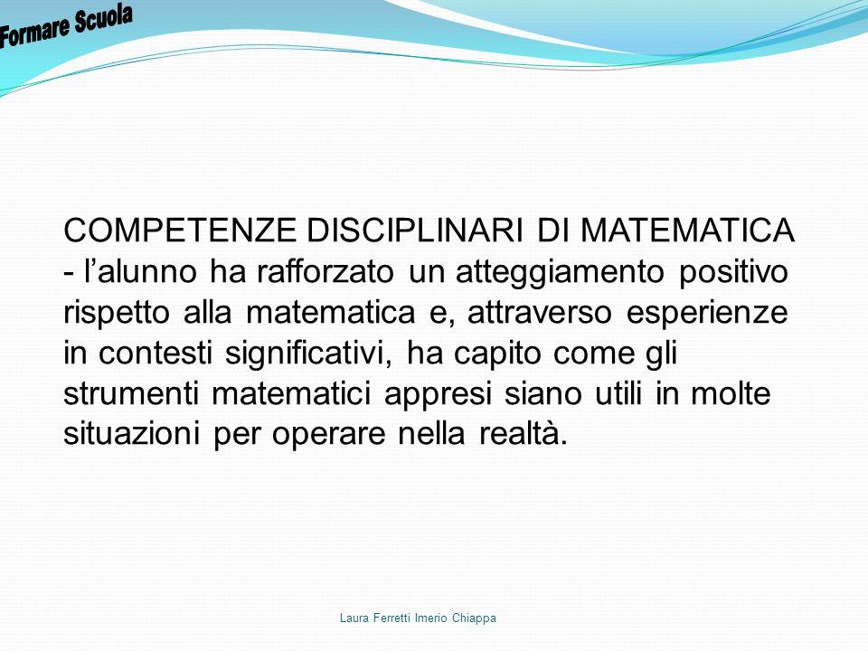 Formare Scuola COMPETENZE DISCIPLINARI DI MATEMATICA