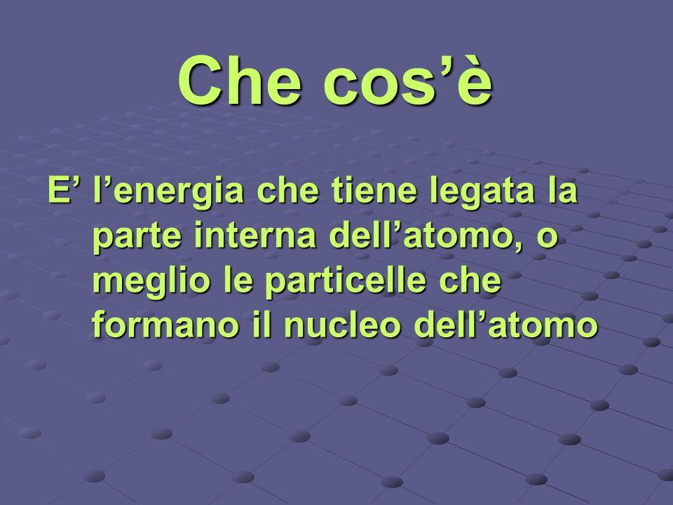 Che cos'è E' l'energia che tiene legata la parte interna dell'atomo, o meglio le particelle che formano il nucleo dell'atomo.