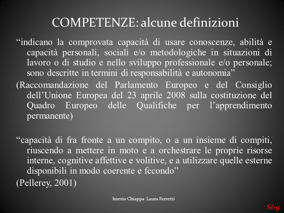 COMPETENZE: alcune definizioni