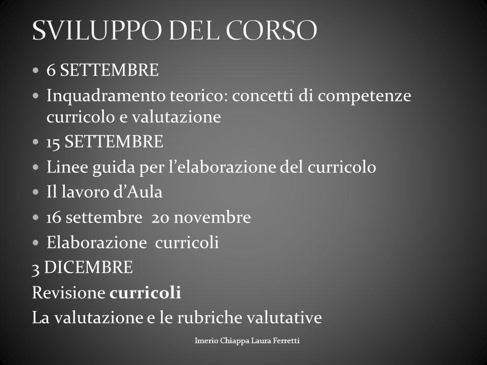 SVILUPPO DEL CORSO 6 SETTEMBRE