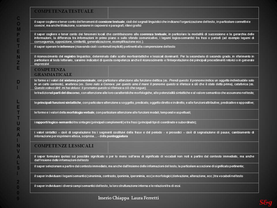S&g COMPETENZA TESTUALE COMPETENZE DI LETTURA INVALSI 2009
