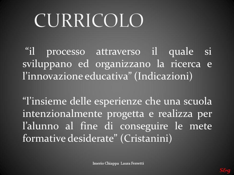 CURRICOLO il processo attraverso il quale si sviluppano ed organizzano la ricerca e l'innovazione educativa (Indicazioni)