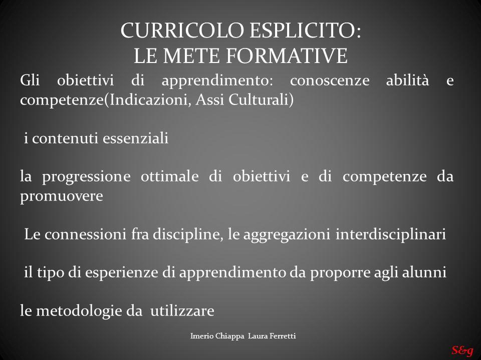 CURRICOLO ESPLICITO: LE METE FORMATIVE