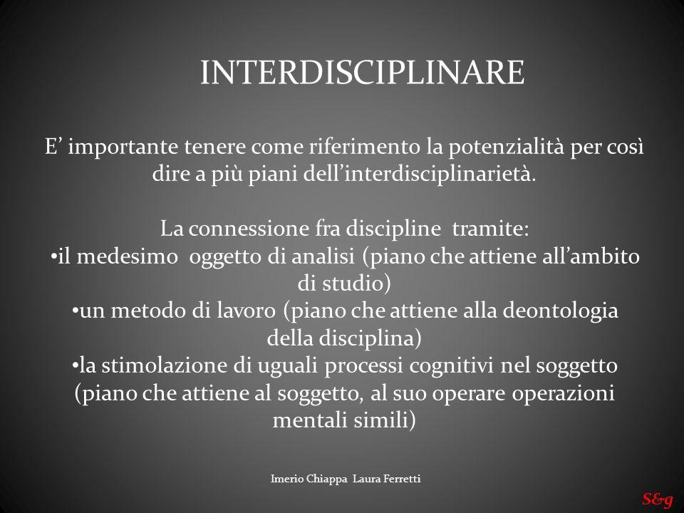 INTERDISCIPLINARE E' importante tenere come riferimento la potenzialità per così dire a più piani dell'interdisciplinarietà.