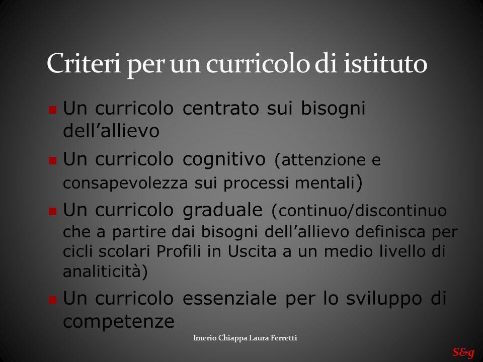 Criteri per un curricolo di istituto