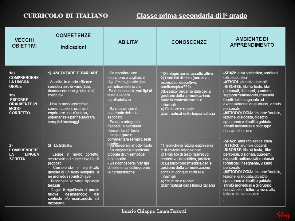 S&g CURRICOLO DI ITALIANO Classe prima secondaria di I° grado VECCHI