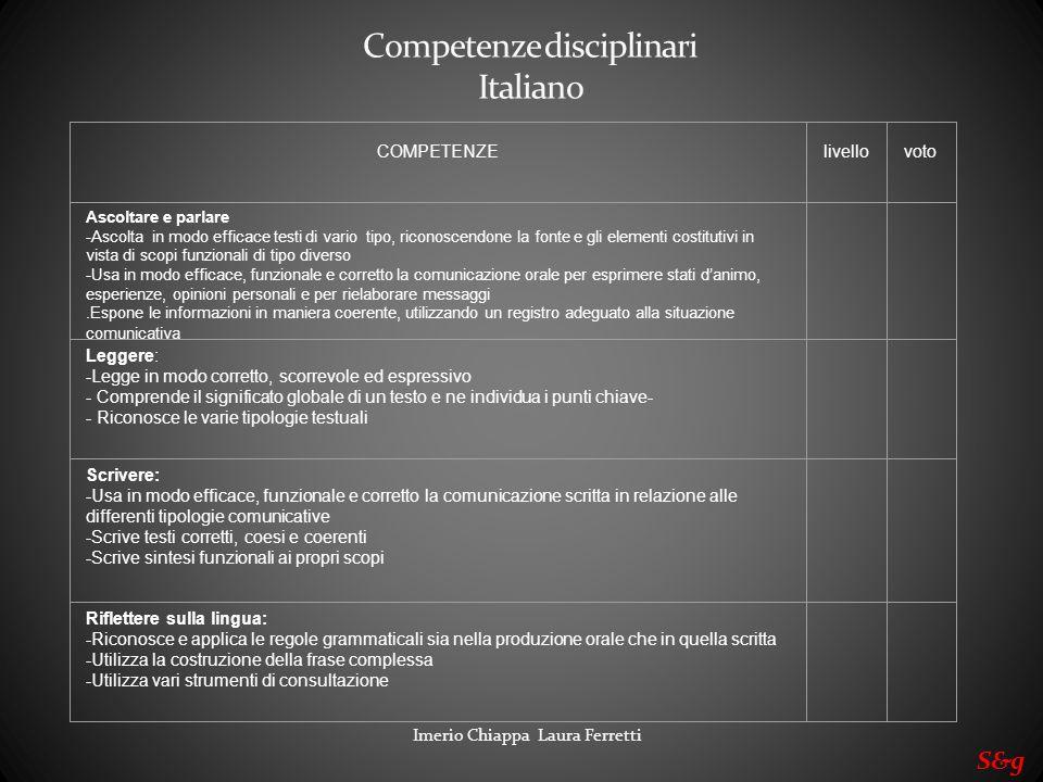 Competenze disciplinari Italiano