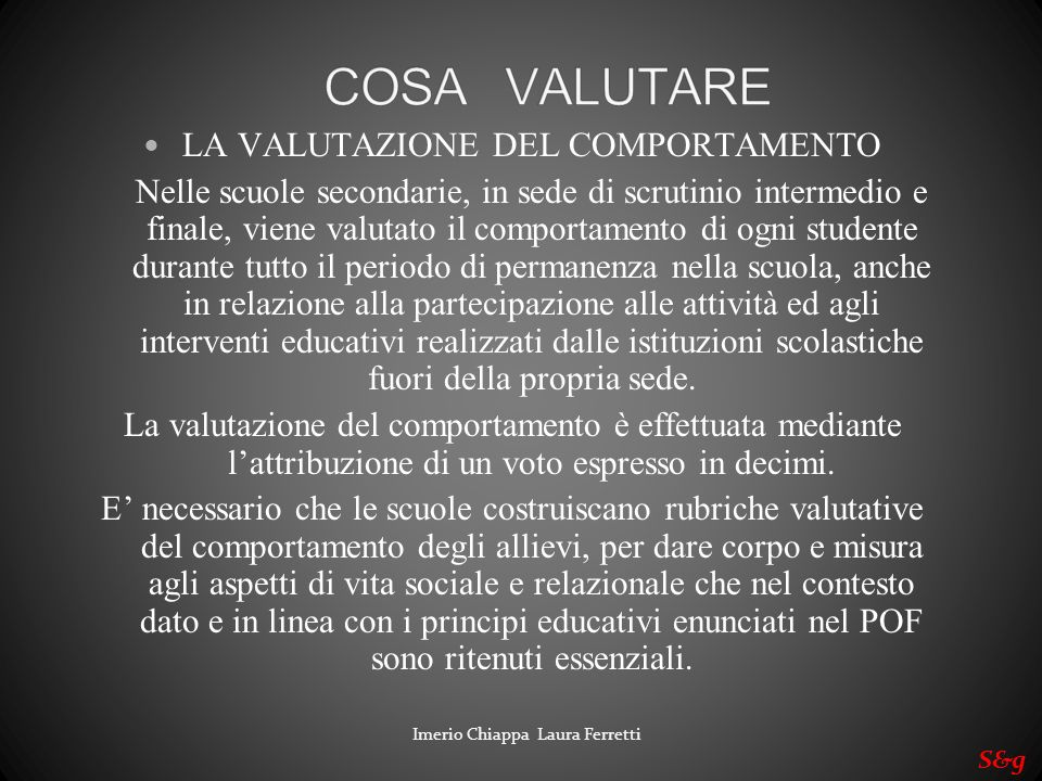 LA VALUTAZIONE DEL COMPORTAMENTO