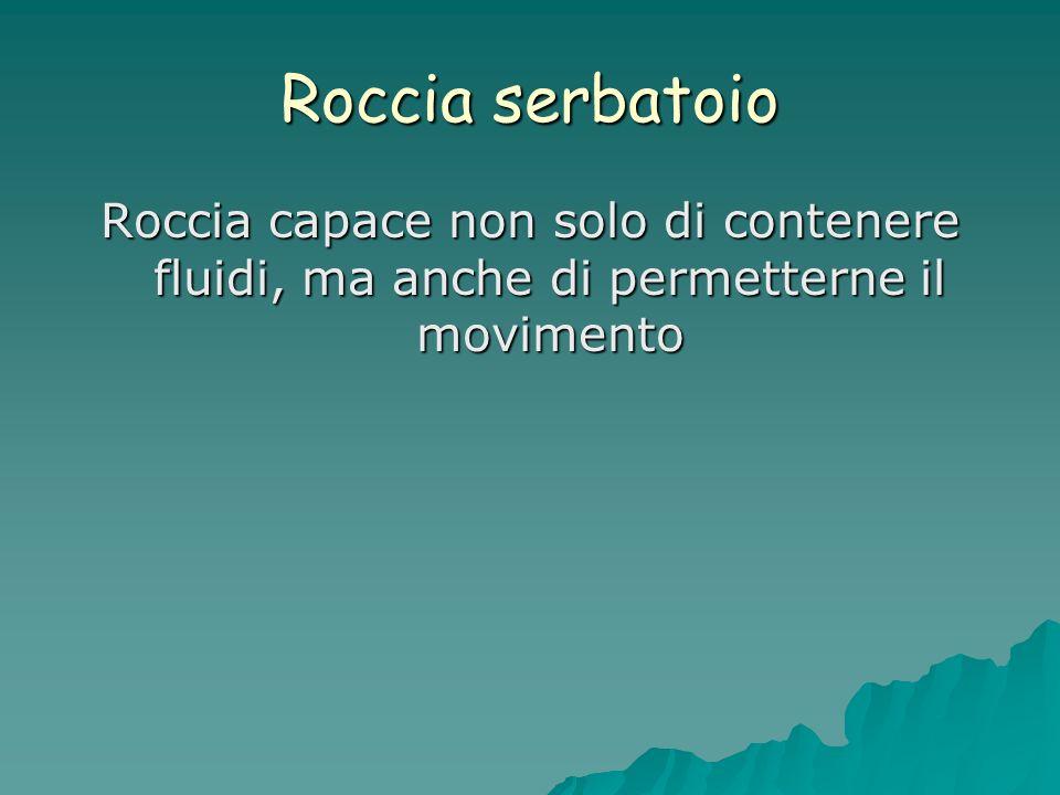 Roccia serbatoio Roccia capace non solo di contenere fluidi, ma anche di permetterne il movimento