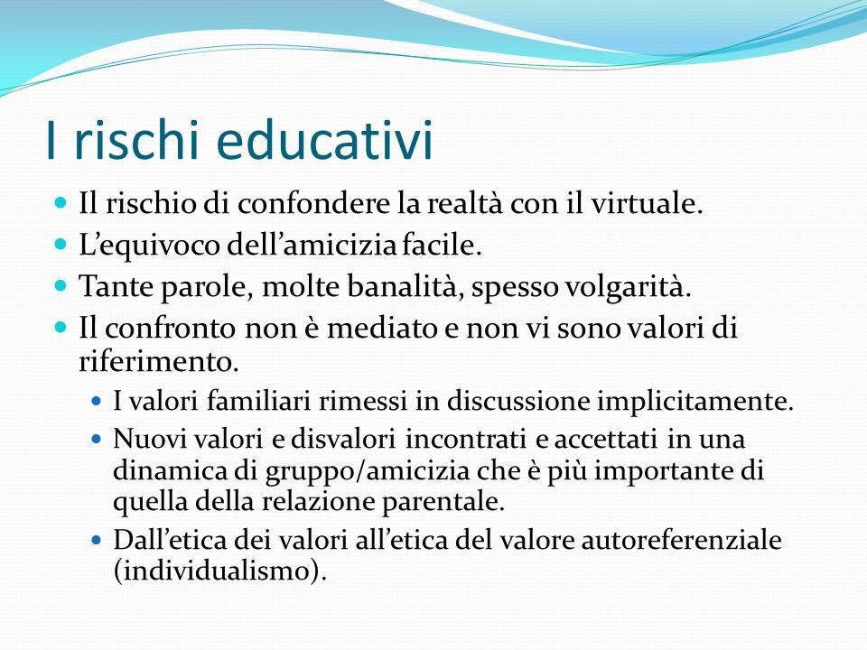 I rischi educativi Il rischio di confondere la realtà con il virtuale.