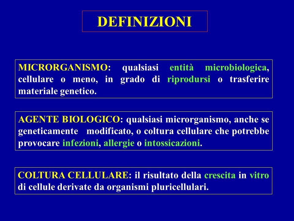 DEFINIZIONI MICRORGANISMO: qualsiasi entità microbiologica, cellulare o meno, in grado di riprodursi o trasferire materiale genetico.