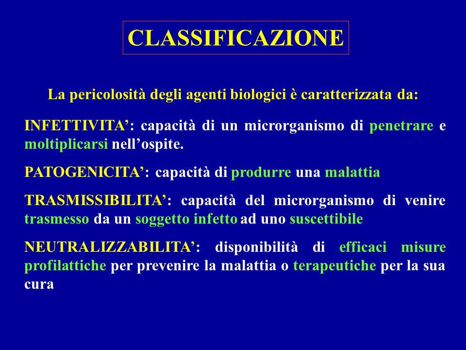 La pericolosità degli agenti biologici è caratterizzata da: