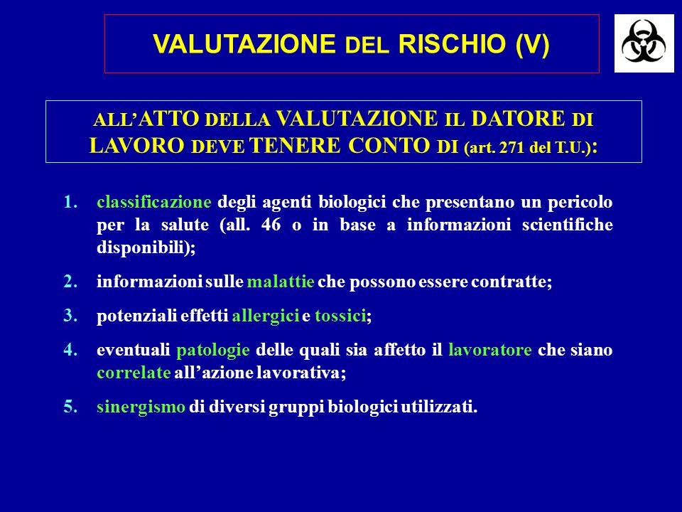 VALUTAZIONE DEL RISCHIO (V)