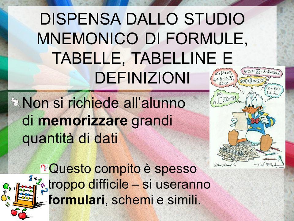 DISPENSA DALLO STUDIO MNEMONICO DI FORMULE, TABELLE, TABELLINE E DEFINIZIONI