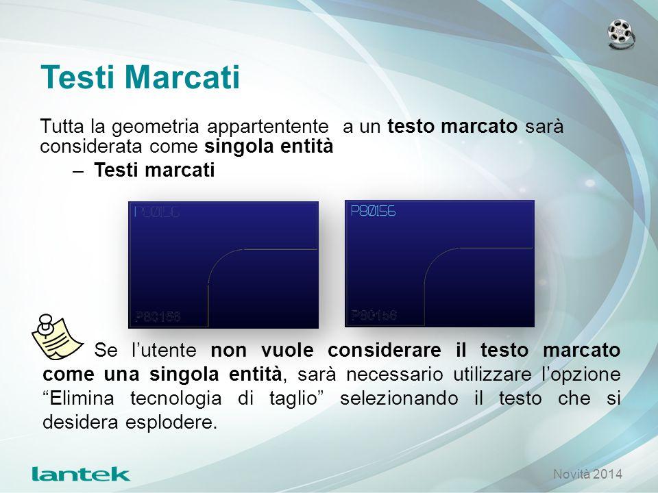 Testi Marcati Tutta la geometria appartentente a un testo marcato sarà considerata come singola entità.