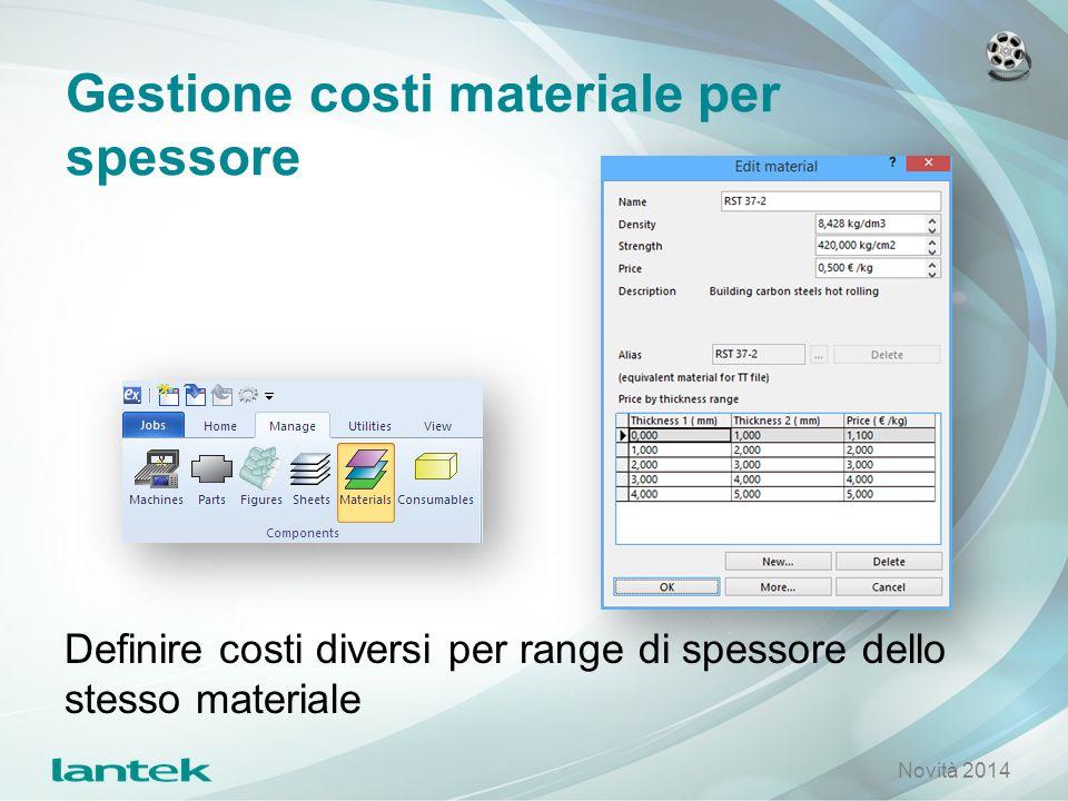 Gestione costi materiale per spessore