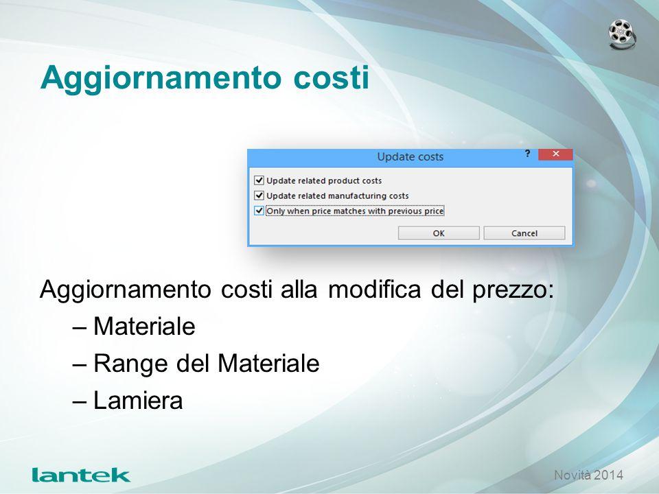 Aggiornamento costi Aggiornamento costi alla modifica del prezzo: