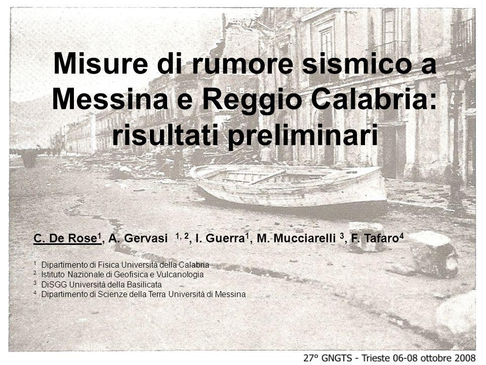 Misure di rumore sismico a Messina e Reggio Calabria: risultati preliminari