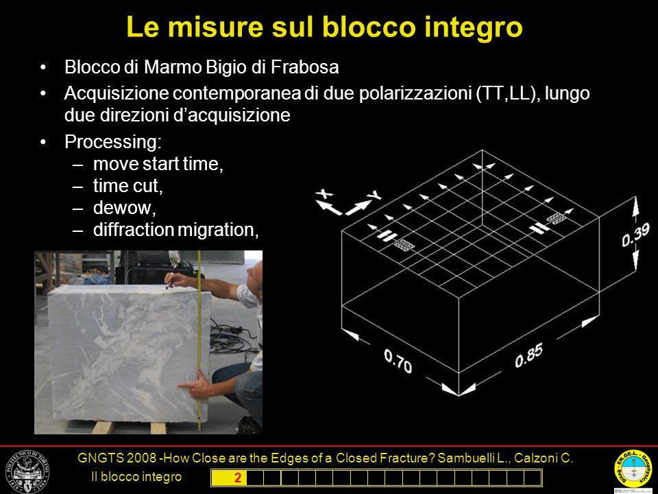 Le misure sul blocco integro
