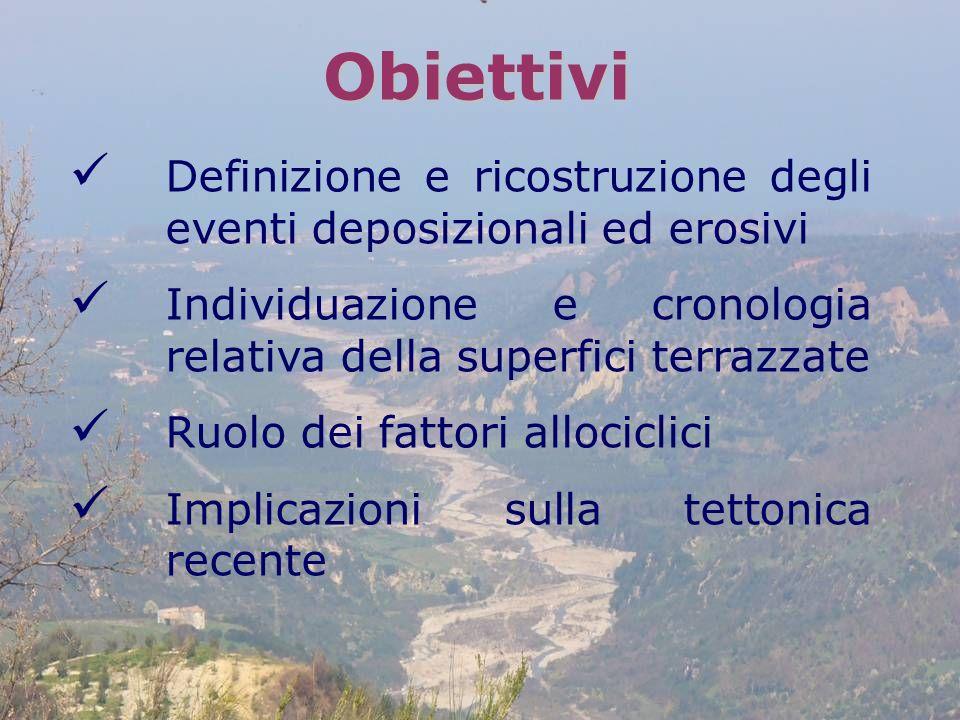 Obiettivi Definizione e ricostruzione degli eventi deposizionali ed erosivi. Individuazione e cronologia relativa della superfici terrazzate.