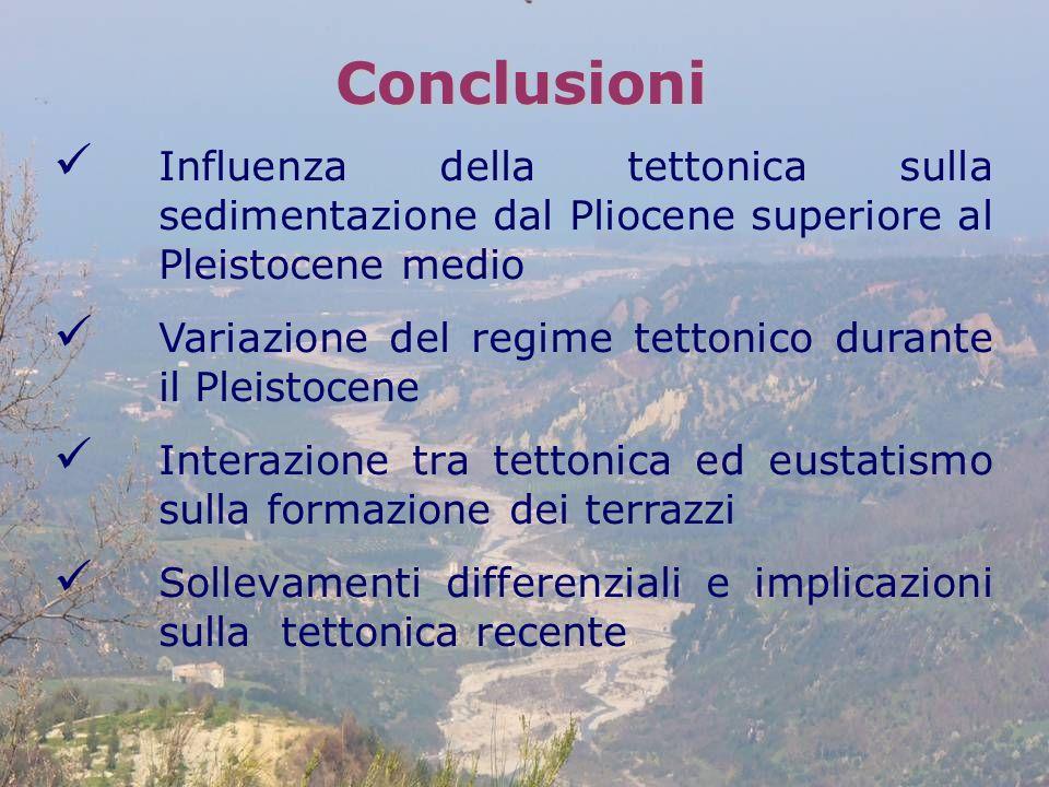 Conclusioni Influenza della tettonica sulla sedimentazione dal Pliocene superiore al Pleistocene medio.