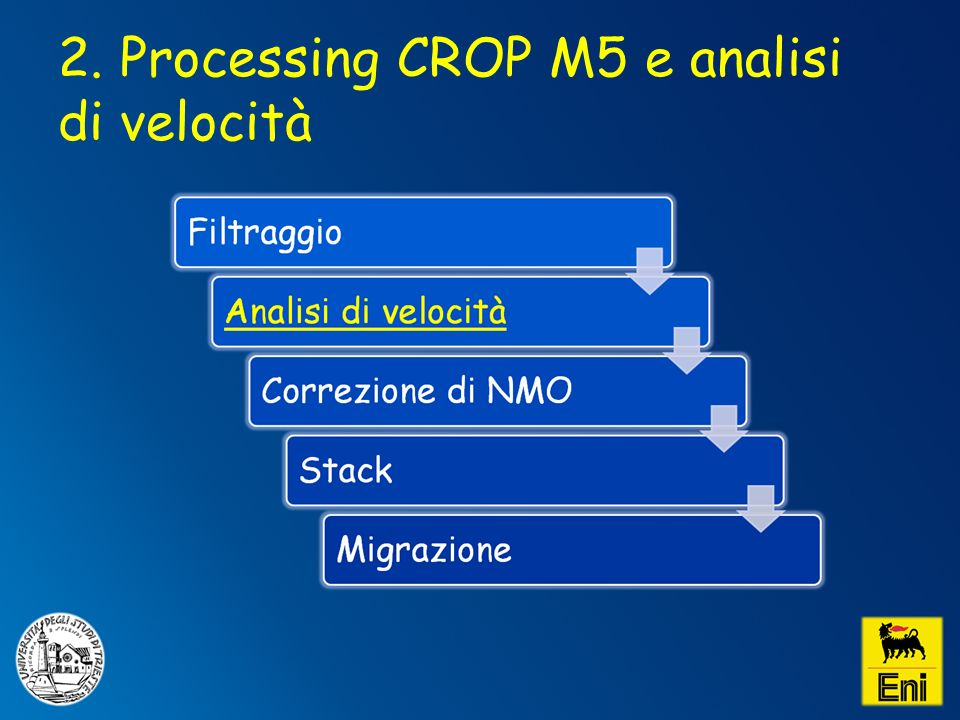2. Processing CROP M5 e analisi di velocità