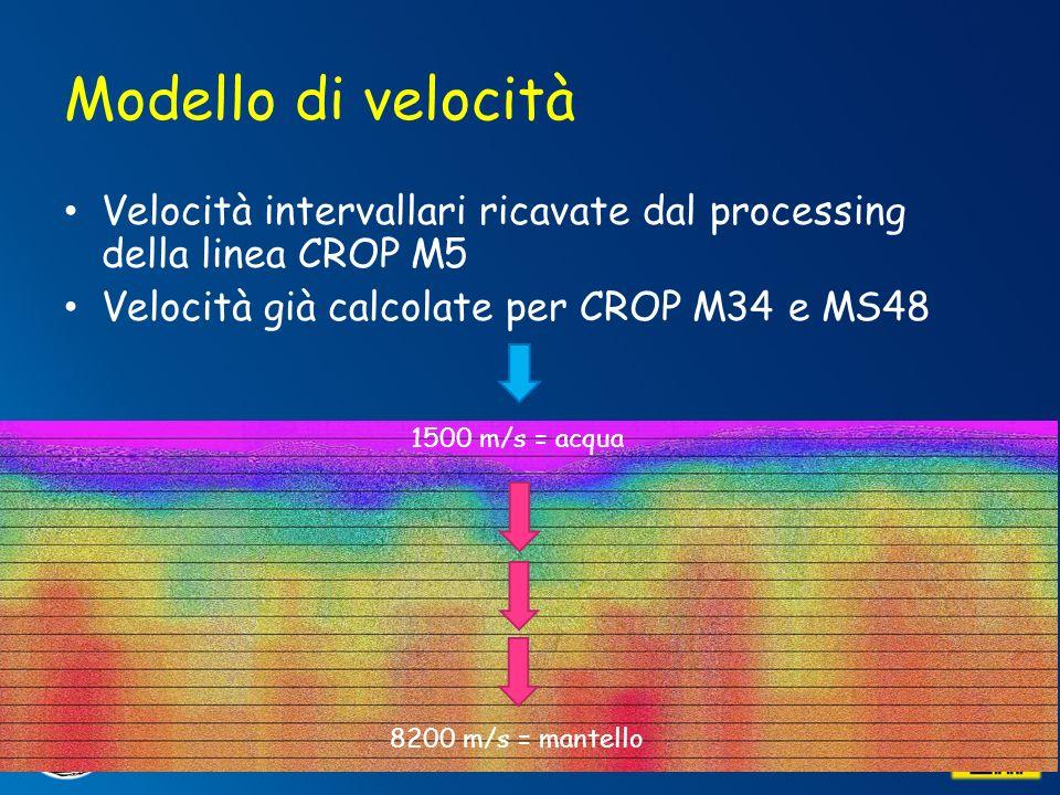 Modello di velocità Velocità intervallari ricavate dal processing della linea CROP M5. Velocità già calcolate per CROP M34 e MS48.