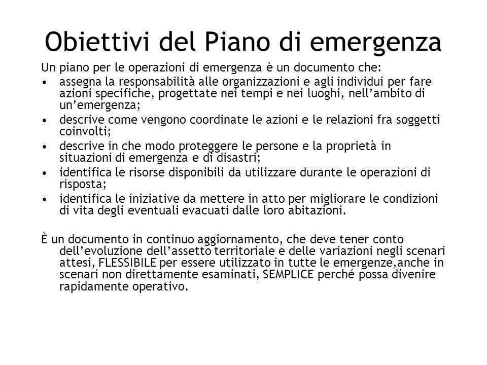 Obiettivi del Piano di emergenza