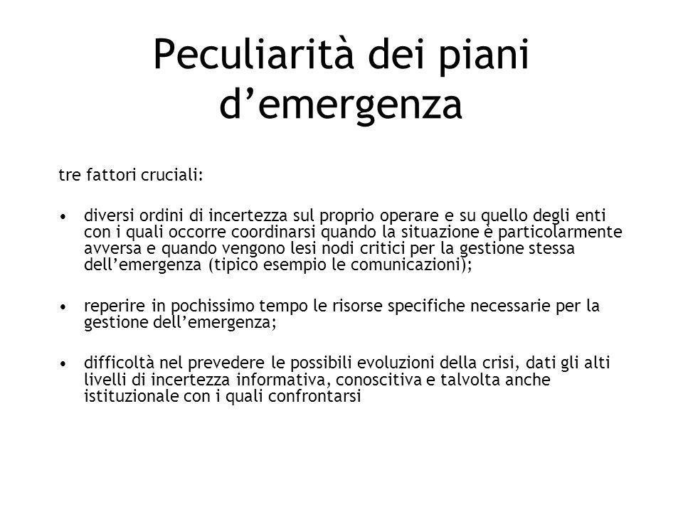 Peculiarità dei piani d'emergenza