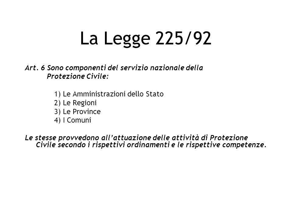 La Legge 225/92 Art. 6 Sono componenti del servizio nazionale della