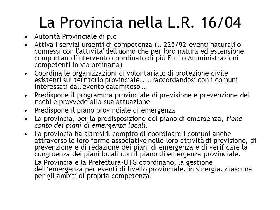 La Provincia nella L.R. 16/04 Autorità Provinciale di p.c.