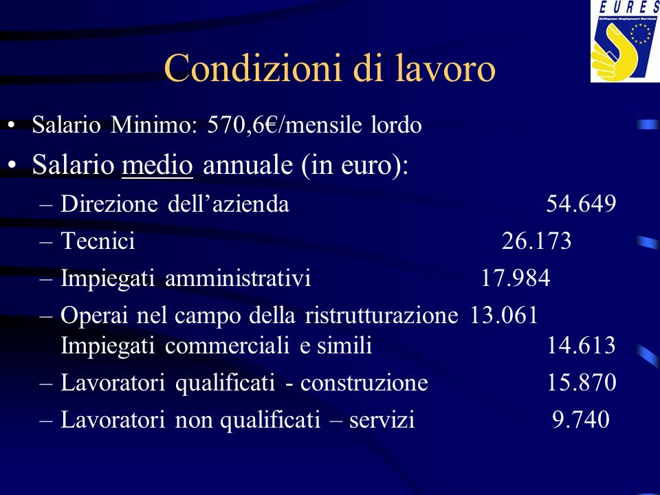 Condizioni di lavoro Salario medio annuale (in euro):