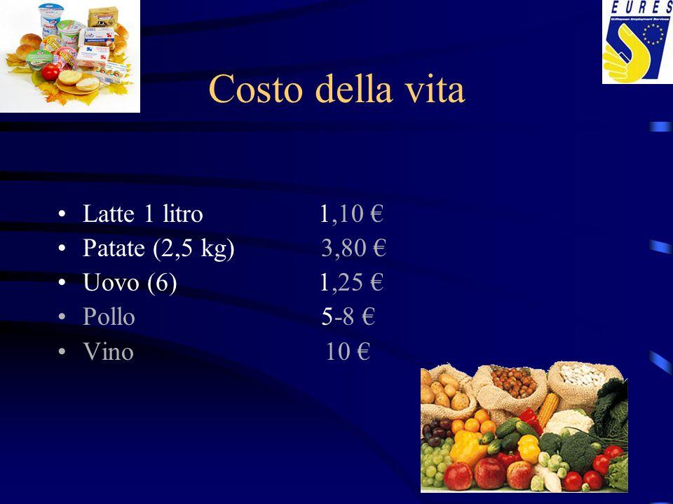 Costo della vita Latte 1 litro 1,10 € Patate (2,5 kg) 3,80 €