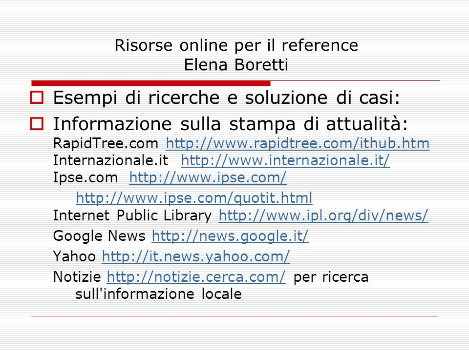 Risorse online per il reference Elena Boretti
