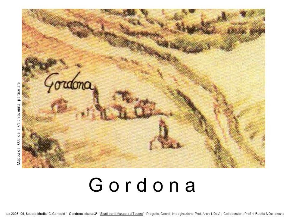 G o r d o n a Mappa del '600 della Valchiavenna, particolare