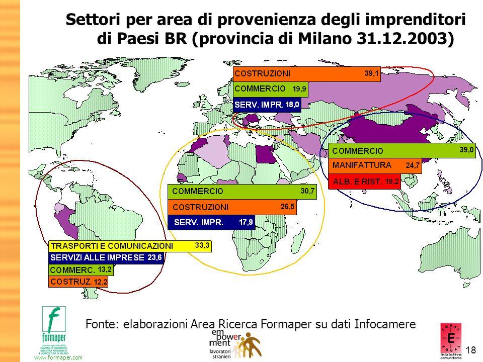 Settori per area di provenienza degli imprenditori di Paesi BR (provincia di Milano 31.12.2003)